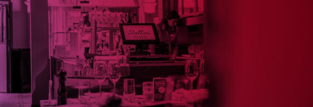 Momentaufnahme Kasse bei einer Bar in einem Restaurant