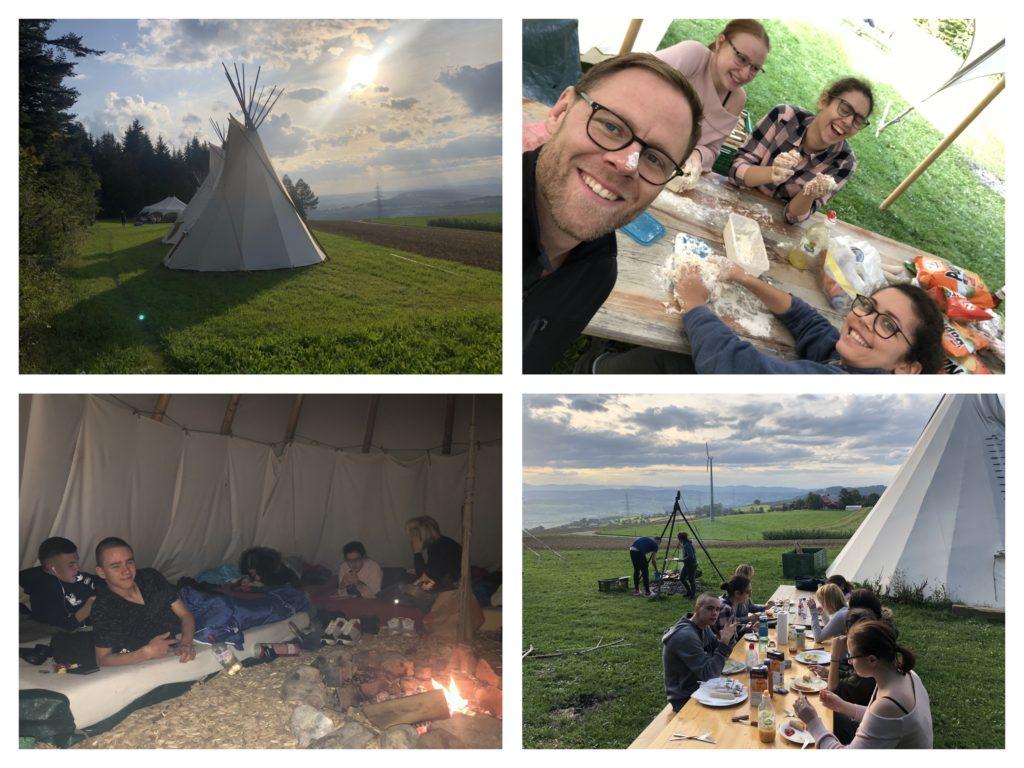 Collage von der Übernachtung im Tipi Zelt